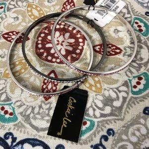 Cookie Lee Rhinestones Silvered 3 Bracelet Bangle